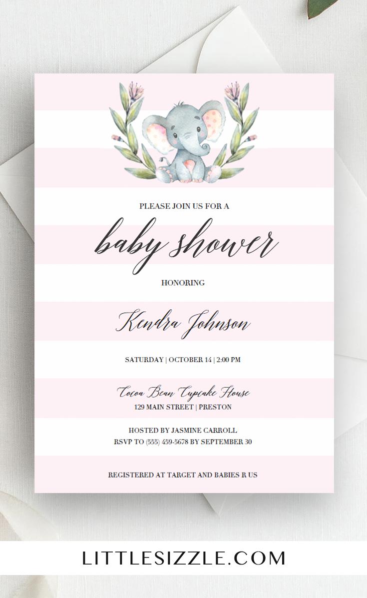 Elephant Baby Shower Invitation Baby Girl Girl Girl Elephant Pink