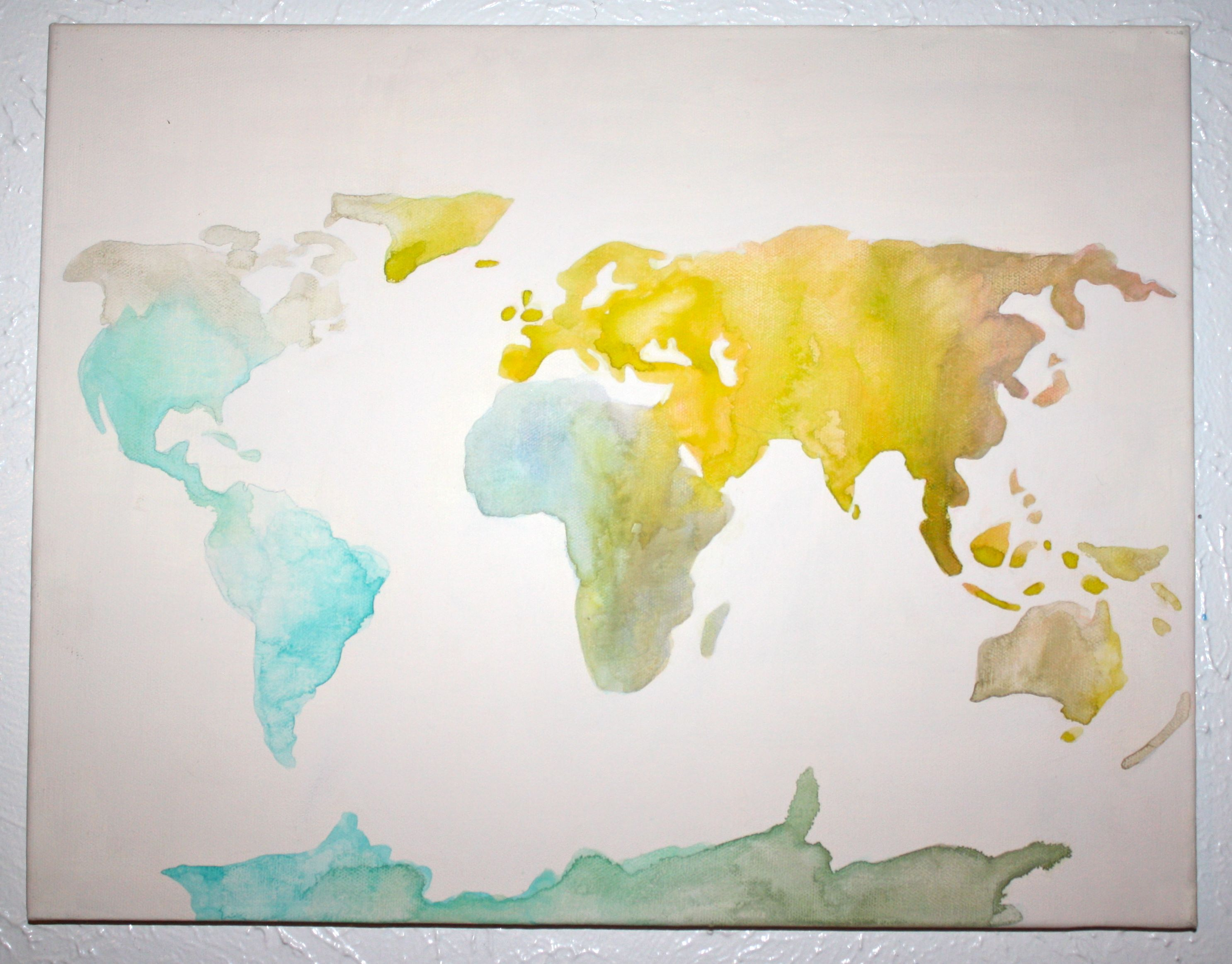 watercolor world map | DIY | Pinterest | Watercolor, Gallery wall ...