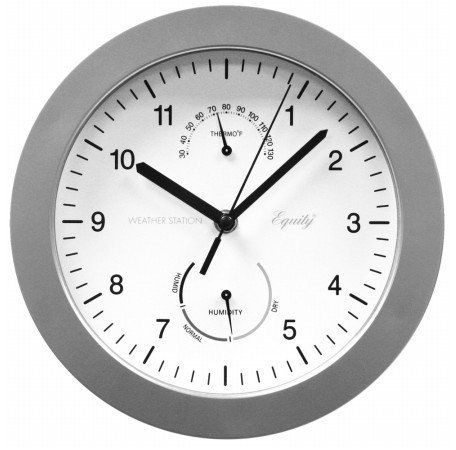 10 Inch Wall Clock With Indoor Temperature And Humidity Gauges By Equity By La Crosse Measures Indoor Temperatures From 30 To 130 Degrees F An Clock Wall Clock