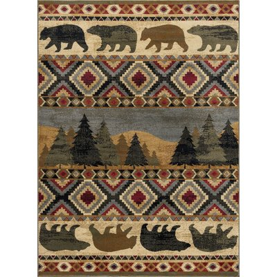 Millwood Pines Villegas Homespun Cabin Novelty Lodge Ivory Area Rug Rug Size Rectangle 5 X 8 Area Rugs Tayse Rugs Rustic Area Rugs