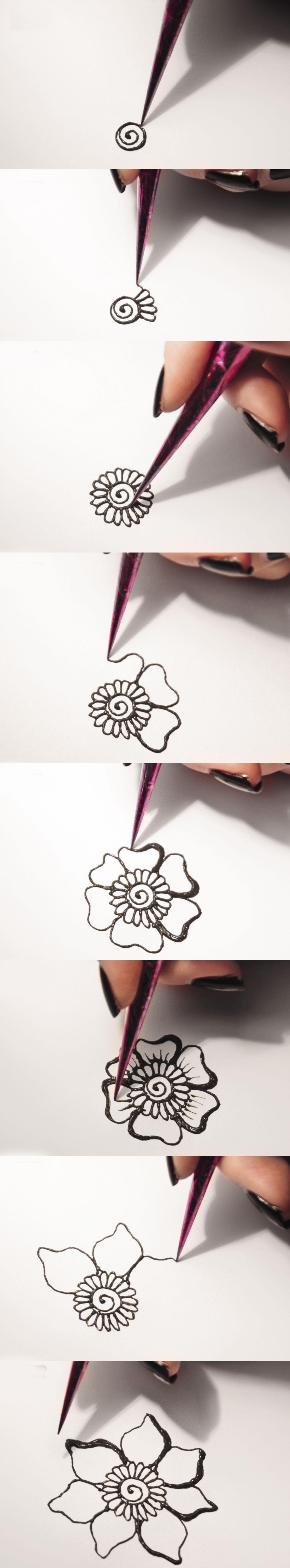 DIY Idea for mehndi. Easy tutorial for mehndi-flower ornament ...