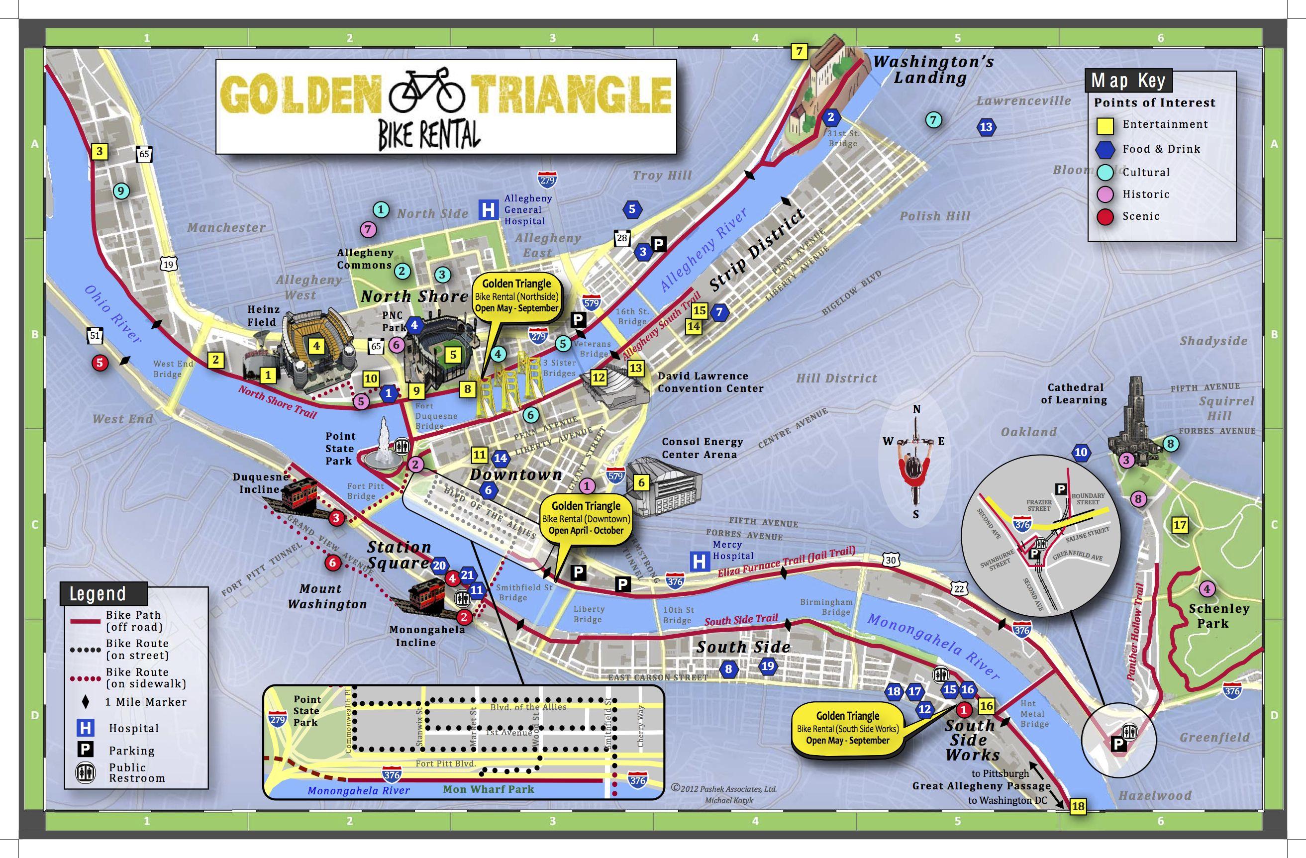 Pittsburg Golden Triangle Bike Rental | [pittsburgh, PA] | Bike, Map on