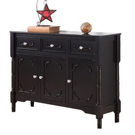 Rest drinks and display your favorite accents atop this charming table, a timeless addition to your home d�cor.  Product: Console tableConstruction Material: WoodColor: BlackFeatures: Three drawers and three cabinetsDimensions: 31 H x 42 W x 12 D