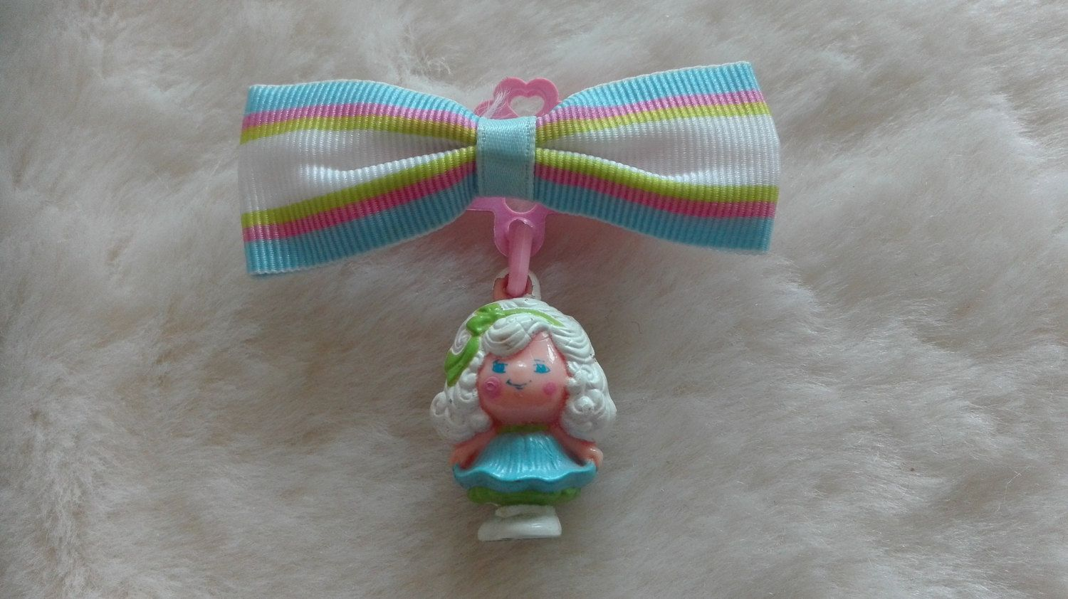 Vintage Hasbro dufti charmkins Morning Glory Barrette with Striped Fabric Bow Hair Clip  - 1980s, toy charm by MetalmanEd on Etsy