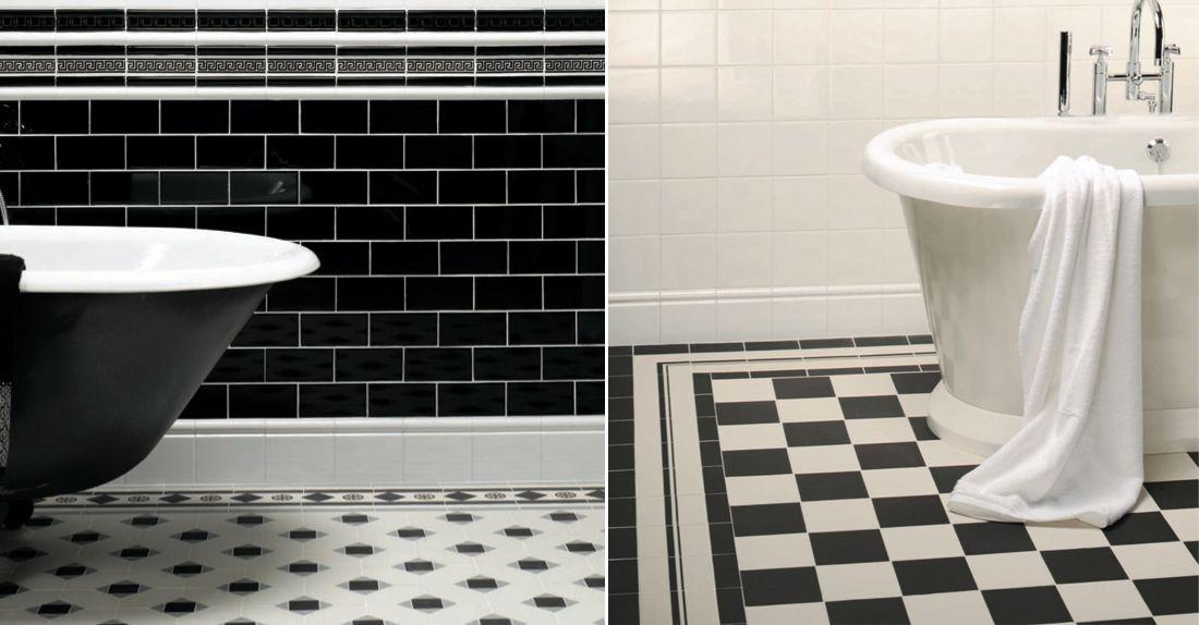 Black And White Victorian Bathroom Tile