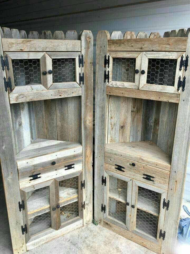 DIY pallet corner cabinet   Wooden pallet furniture ...