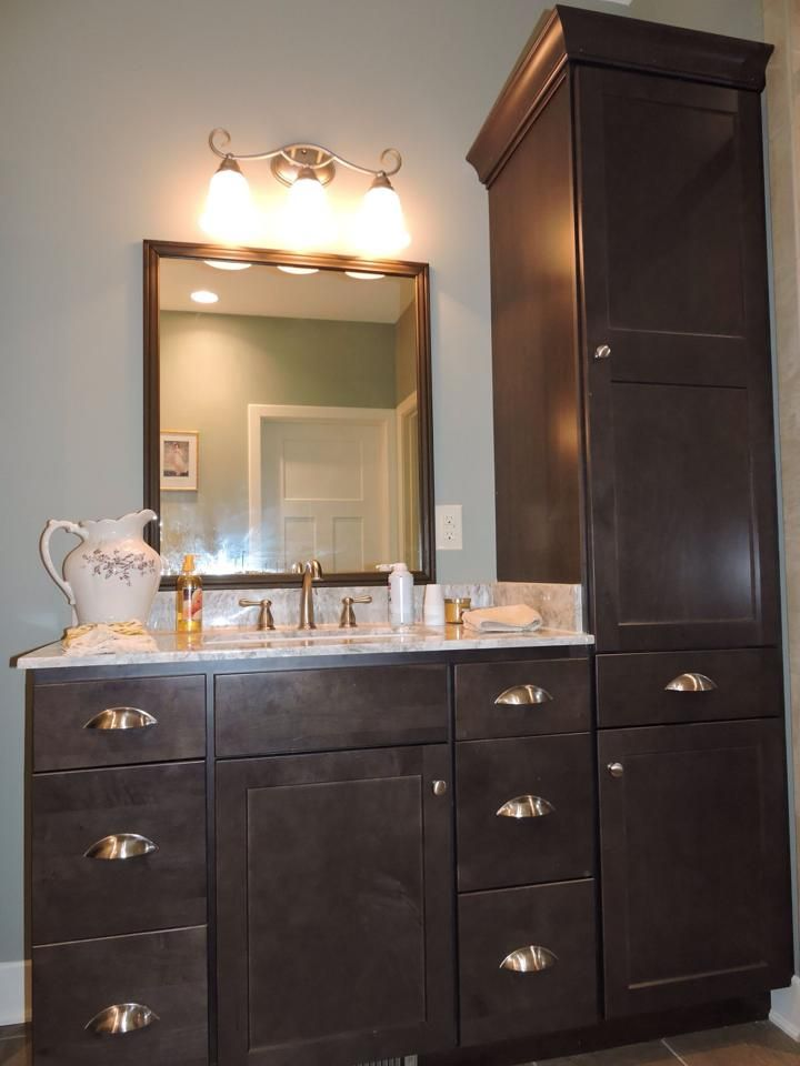 Delicieux Bath Cabinet   HomeCrest Cabinets, Maple Buckboard, Vanity Top Is Cultured  Marble Aruba,