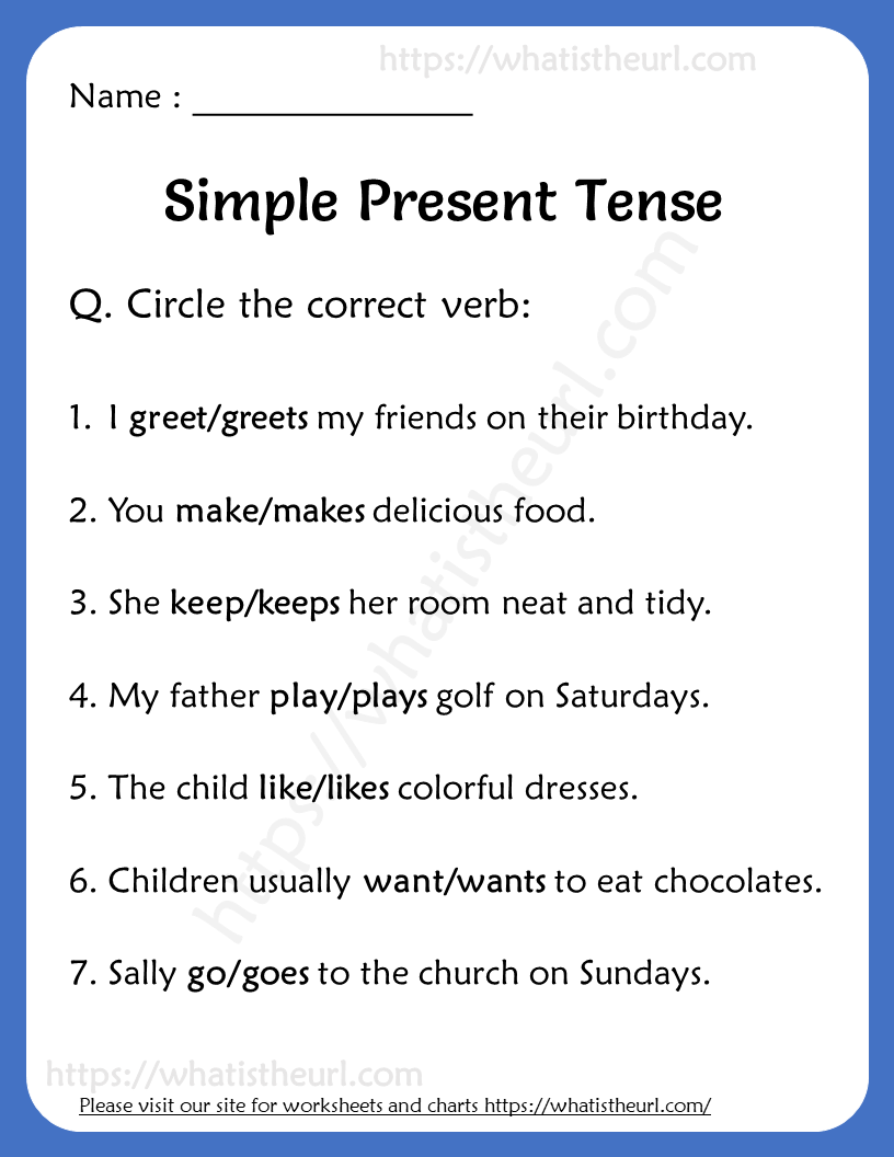 hight resolution of Simple Present Tense Worksheets for Grade 2   Simple present tense