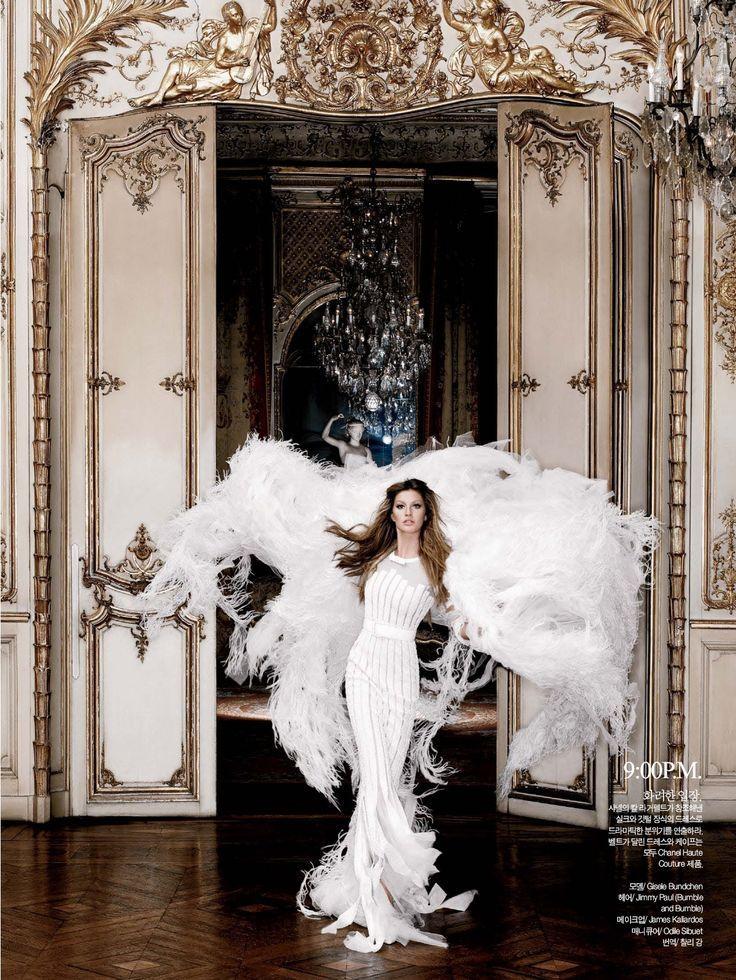 24-Hour Couture | Gisele Bündchen | Karl Lagerfeld #photography | Harper's Bazaar Korea August 2007: