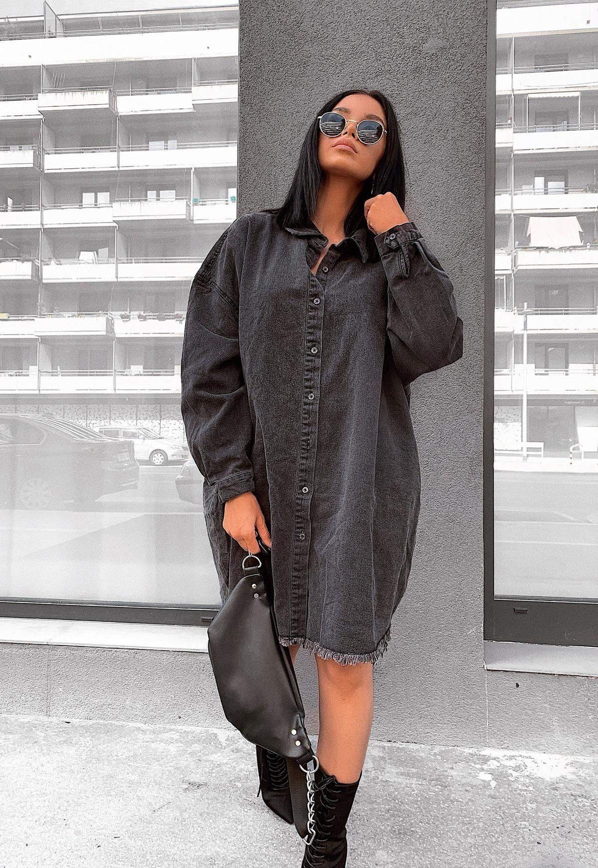 Missguided - Black Oversized Denim Shirt Dress | Tshirt outfits ...