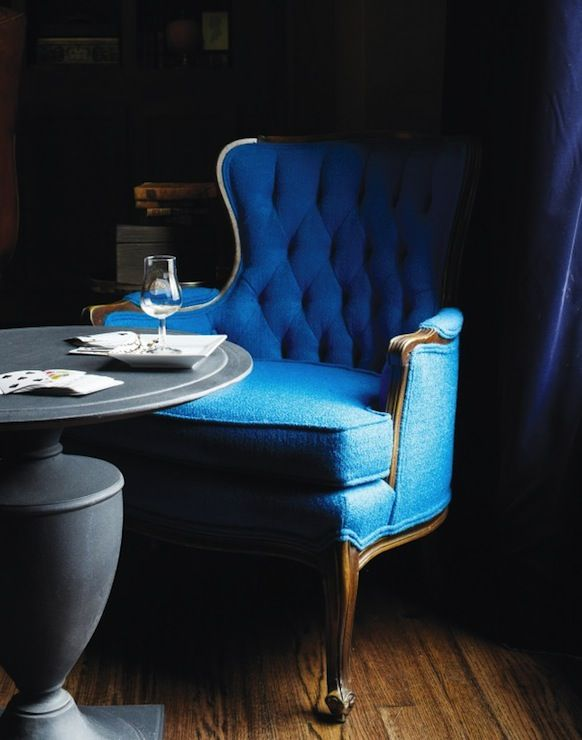 Suzie: York House   Peacock Blue Tufted Bergere Chair, Zinc Pedestal Table  And Royal