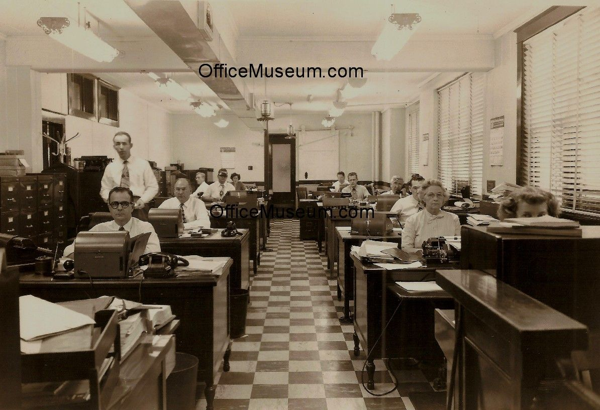 Office with Edison Voicewriter Cylinder Records Model 302 Phones Fluorescent Lights OM.jpg 1,194×816 pixels Western Electric/Bell Model 302 telephone (introduced 1937) on first desk on left, and fluorescent lights (introduced commercially 1938).
