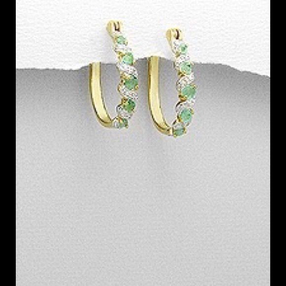Hoop earrings decorated with gem stones & diamond 14k gold