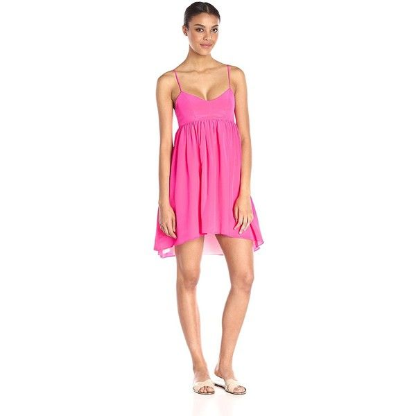 Amanda Uprichard Women's Rachel Dress ($93) ❤ liked on Polyvore featuring dresses, high low dresses, short front long back dresses, spaghetti strap high low dress, hi low dress and pink hi lo dress