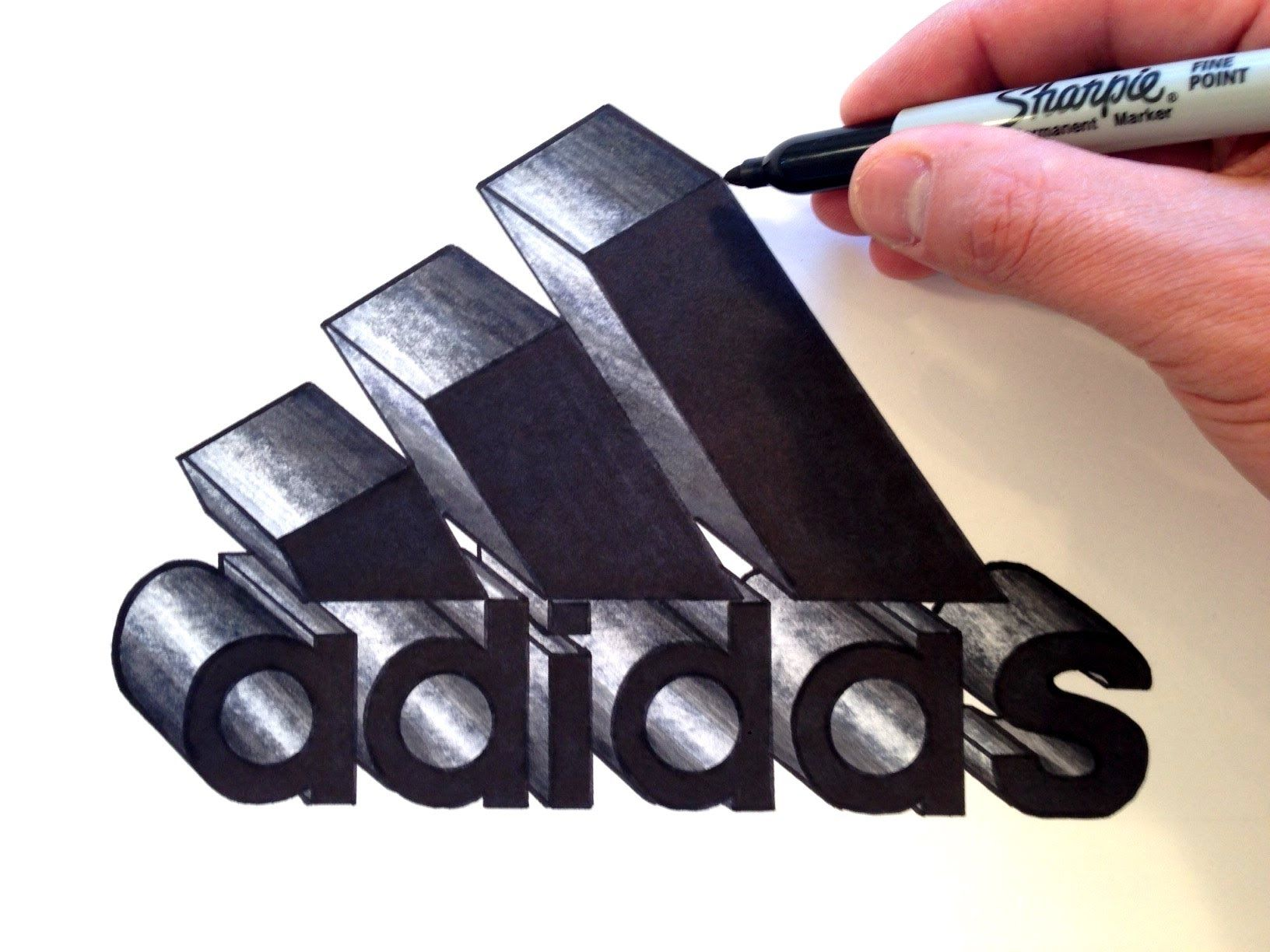 How To Draw The Adidas Logo In 3d  Best On Youtube