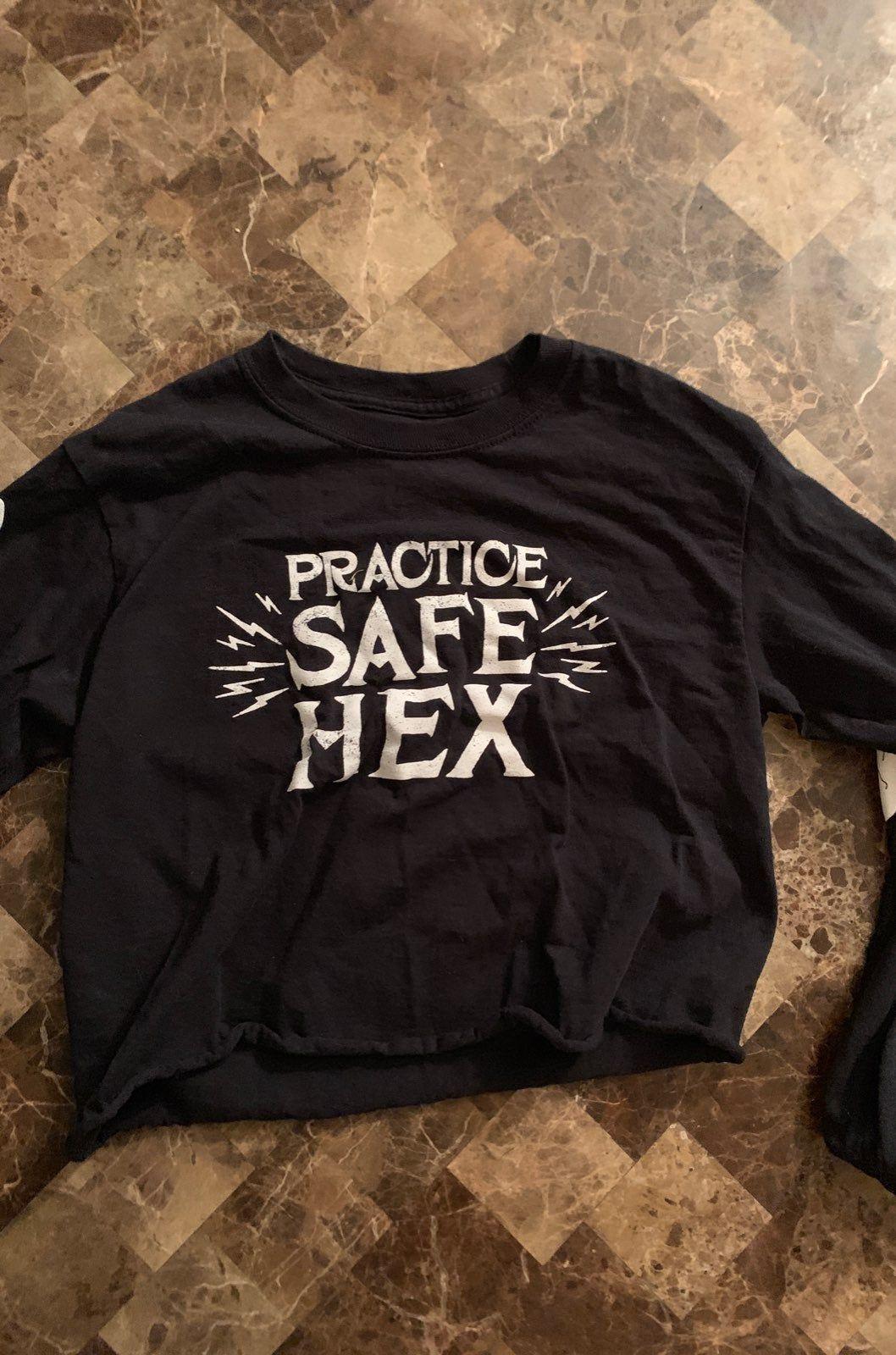 Practice Safe Hex Crop Top. Small Crop tops, Tops, Shirts
