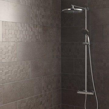 Carrelage mural Vision ARTENS en faïence, gris foncé, 25 x 75 cm - devis carrelage salle de bain