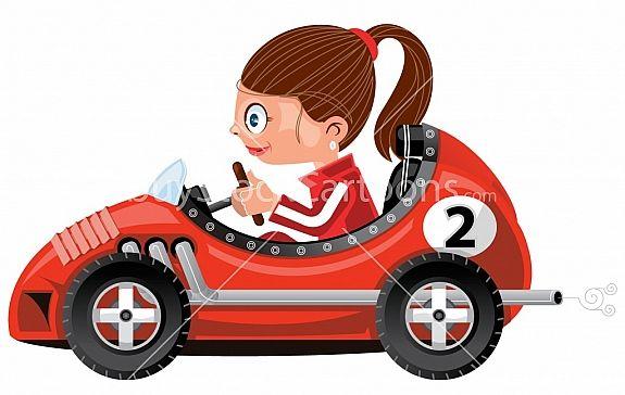 Girl Racer Cartoon Artwork C Timothy Pronk Buystockcartoons