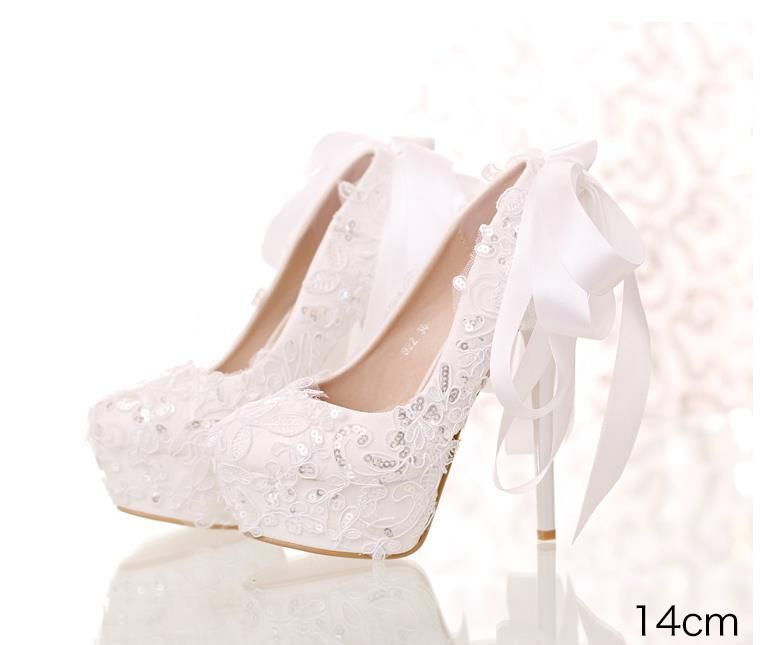Free Shipping 2017 White Lace Sequins Bridal Shoes Round Shallow ... 5d377357e8f3