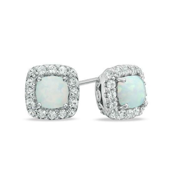 aa2422049 5.0mm Cushion-Cut Lab-Created Opal and White Sapphire Frame Stud Earrings  in Sterling Silver