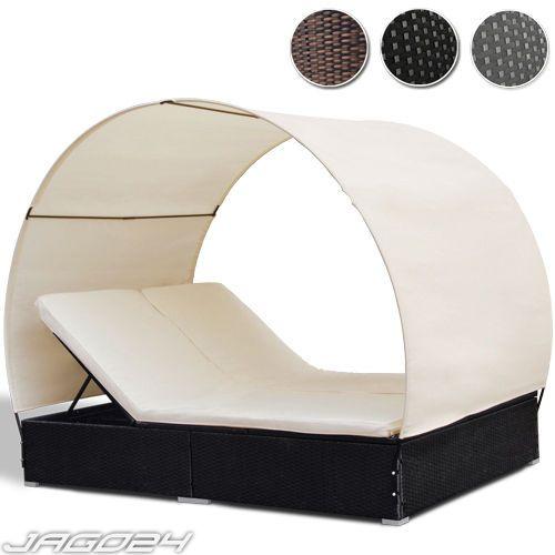 Loungeliege Doppelt Rattan Mit Dach Sonnenliege Polyrattan Lounge Terasse