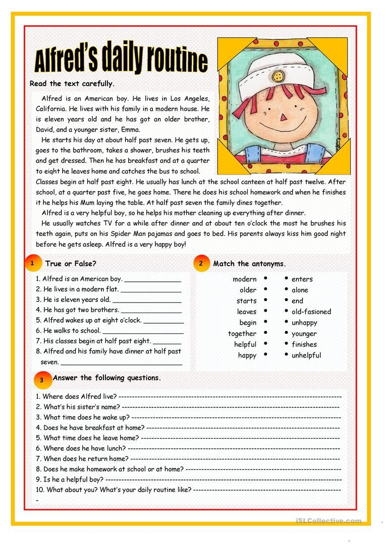 Workbooks to too and two worksheets : Alfred's daily routine worksheet - Free ESL printable worksheets ...