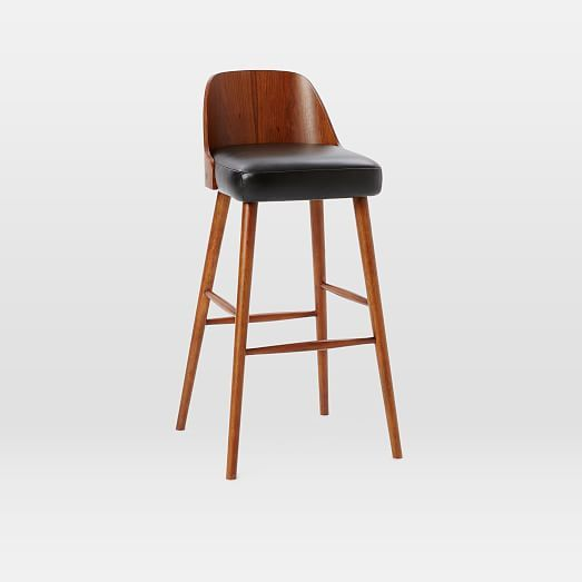 Bentwood Counter Stool Obsidian Leather Walnut