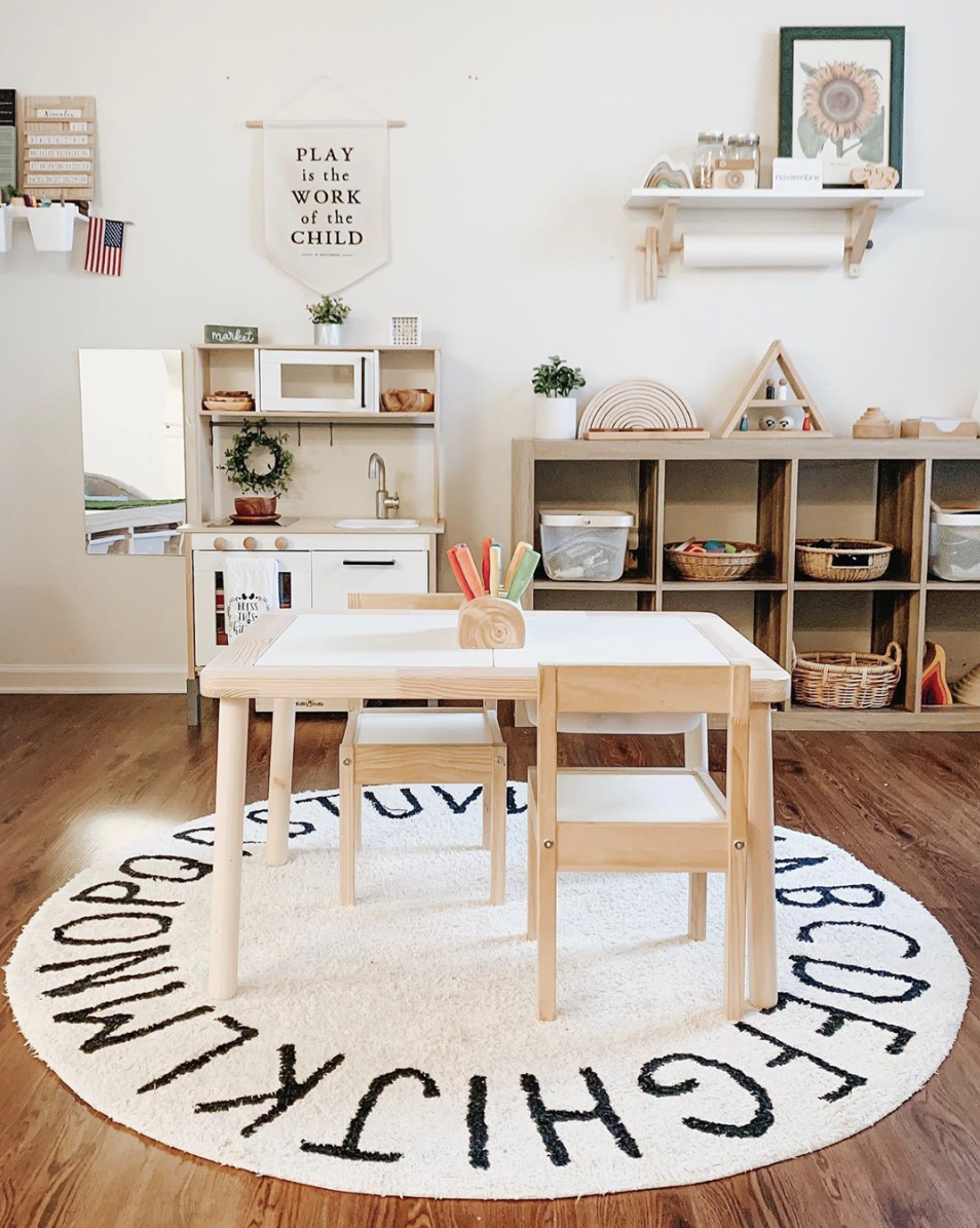Play Is The Work Of The Child Montessori Canvas Banner • Modern Montessori Typographic Playroom Wall