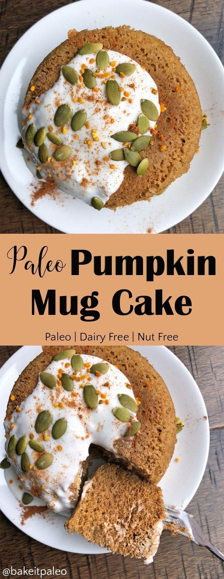 Paleo Pumpkin Protein Mug Cake  #dairyfree #pumpkin #mugcake #microwavecake #nutfree #paleocake #paleotreat #mugcake