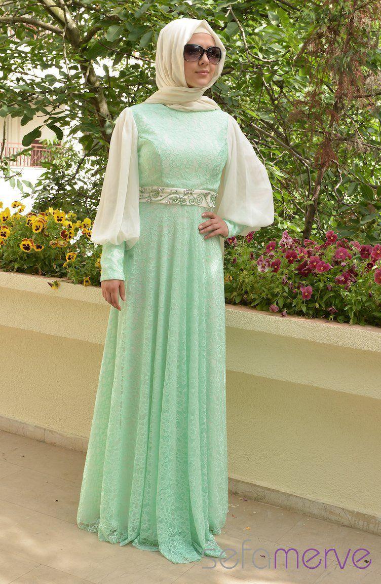 Sefamerve Abiye Elbiseler Pdy 3257 02 Mint Yesil Muslimah Dress Mint Green Dress Islamic Dress