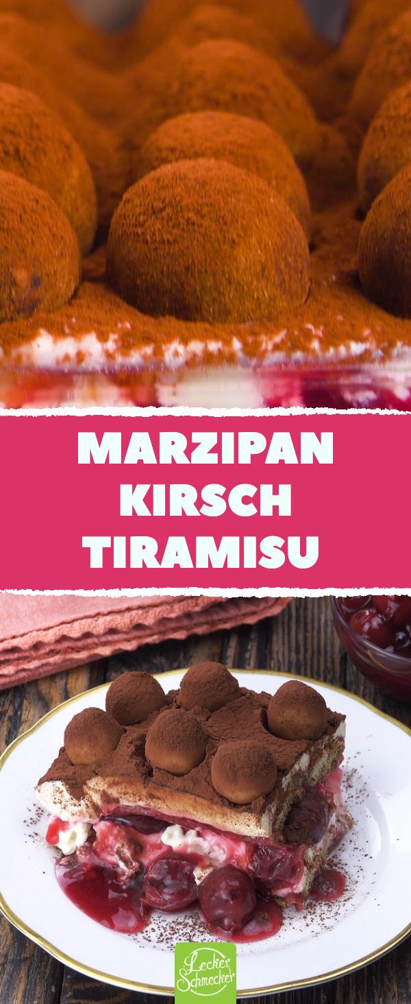 Marzipan-Kirsch-Tiramisu – Rezept für eine fruchtige Variante des italienischen Dessert-Klassikers.