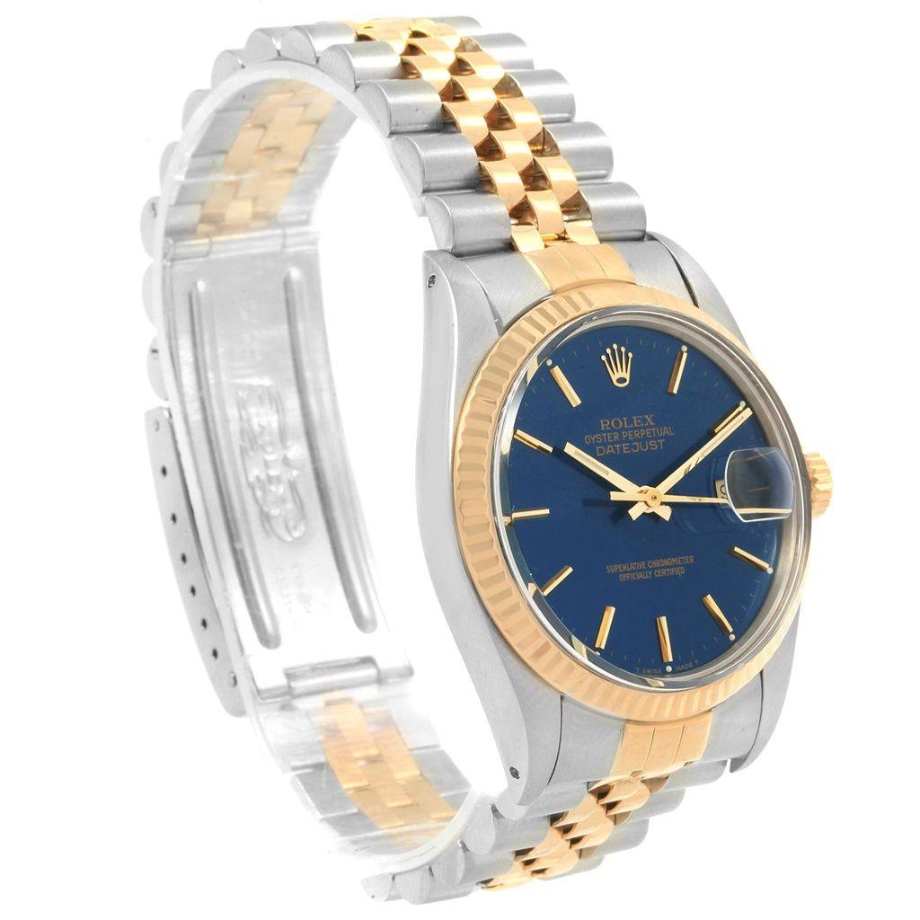 cbe1647c316 20524 Rolex Datejust Steel Yellow Gold Blue Dial Vintage Mens Watch 16013  SwissWatchExpo
