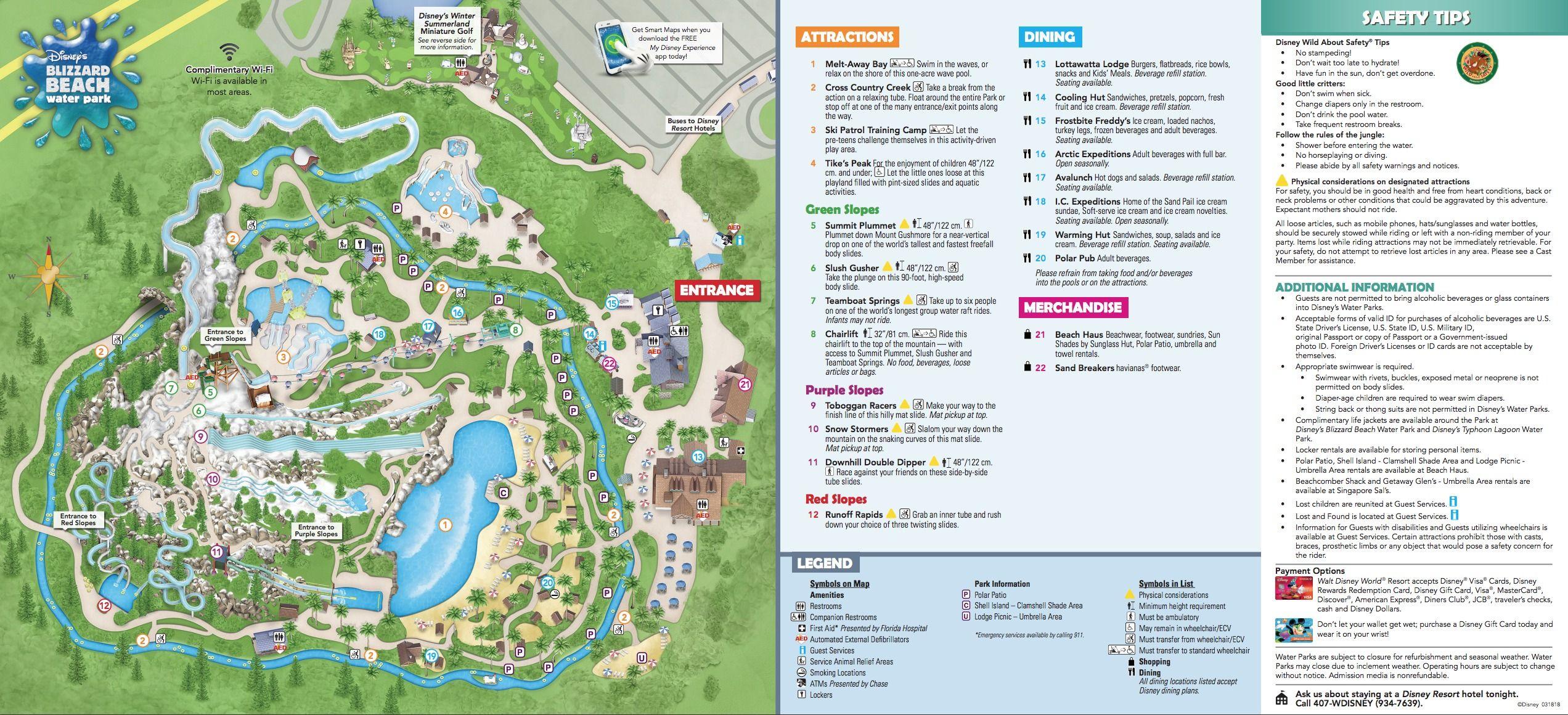 Disney S Blizzard Beach Water Park Map Disney World Map Disney