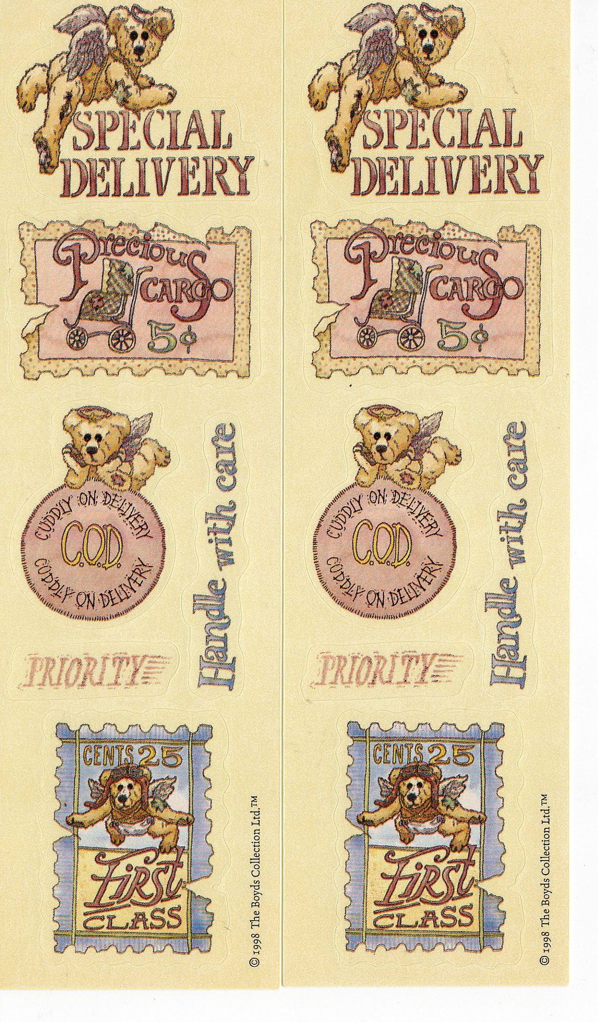 2 Sheets Vintage 1998 Boyd S Collection Bears Stickers Etsy In 2020 New Sticker Etsy Vintage