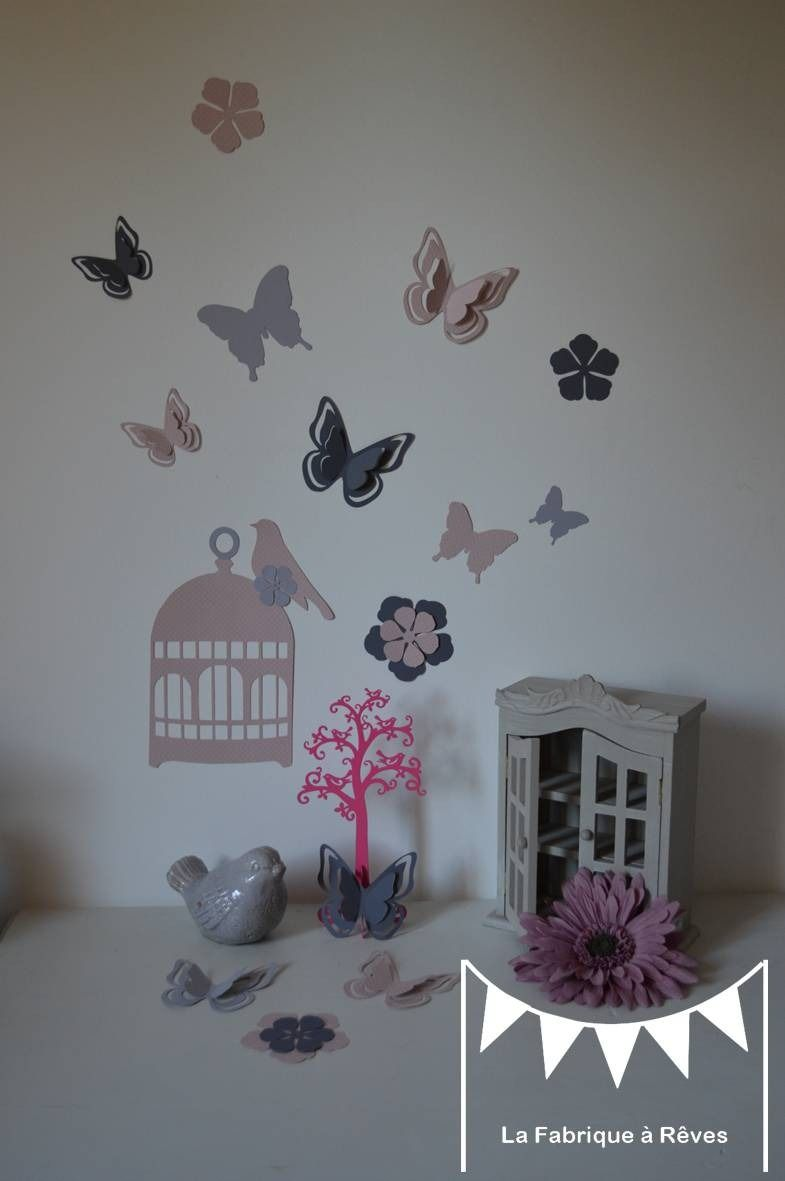 stickers cage oiseaux papillons fleurs et oiseaux rose poudr et gris d coration chambre. Black Bedroom Furniture Sets. Home Design Ideas