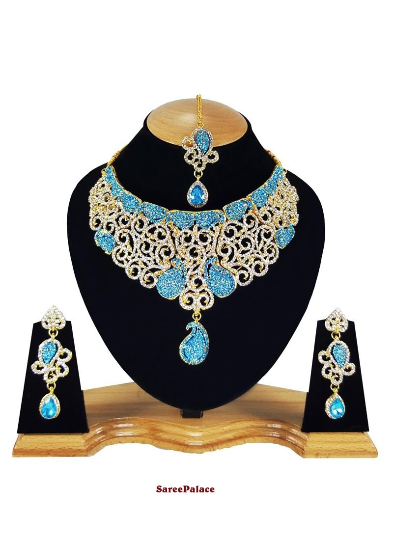 Stone work gold and turquoise necklace set necklace set
