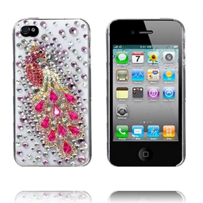 3D BlingBling (Pinkki Riikinkukko) iPhone 4 Suojakuori