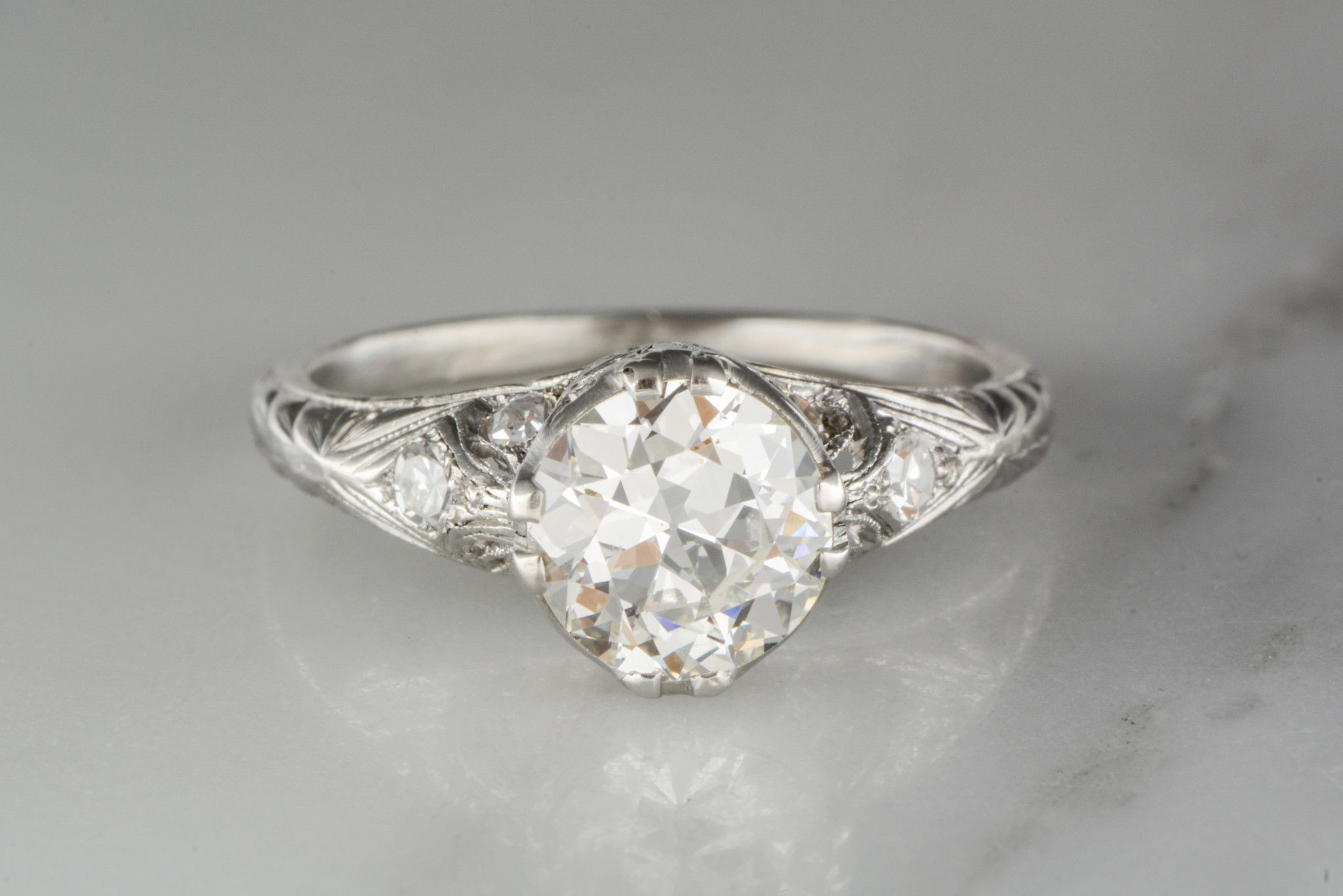 5c97018cd G.I.A. Certified .98 Carat Old European Cut Diamond in a Platinum Edwardian  Engagement Ring with .22 Carats…