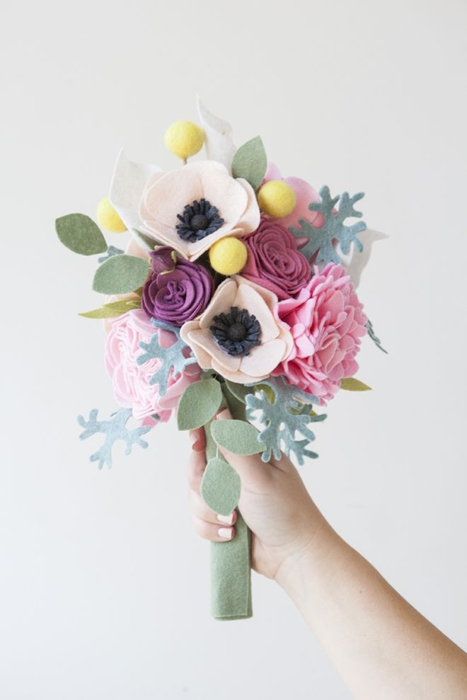 This wedding bouquet is made out of felt flowers - learn how ...