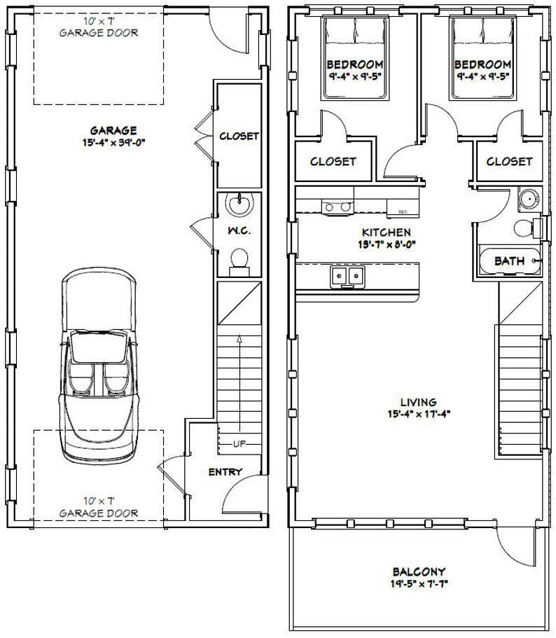 20x40 House 2 Bedroom 1 5 Bath 859 Sq Ft Pdf Floor Plan Instant Download Model 7p Garage Apartment Floor Plans Apartment Floor Plans Floor Plans