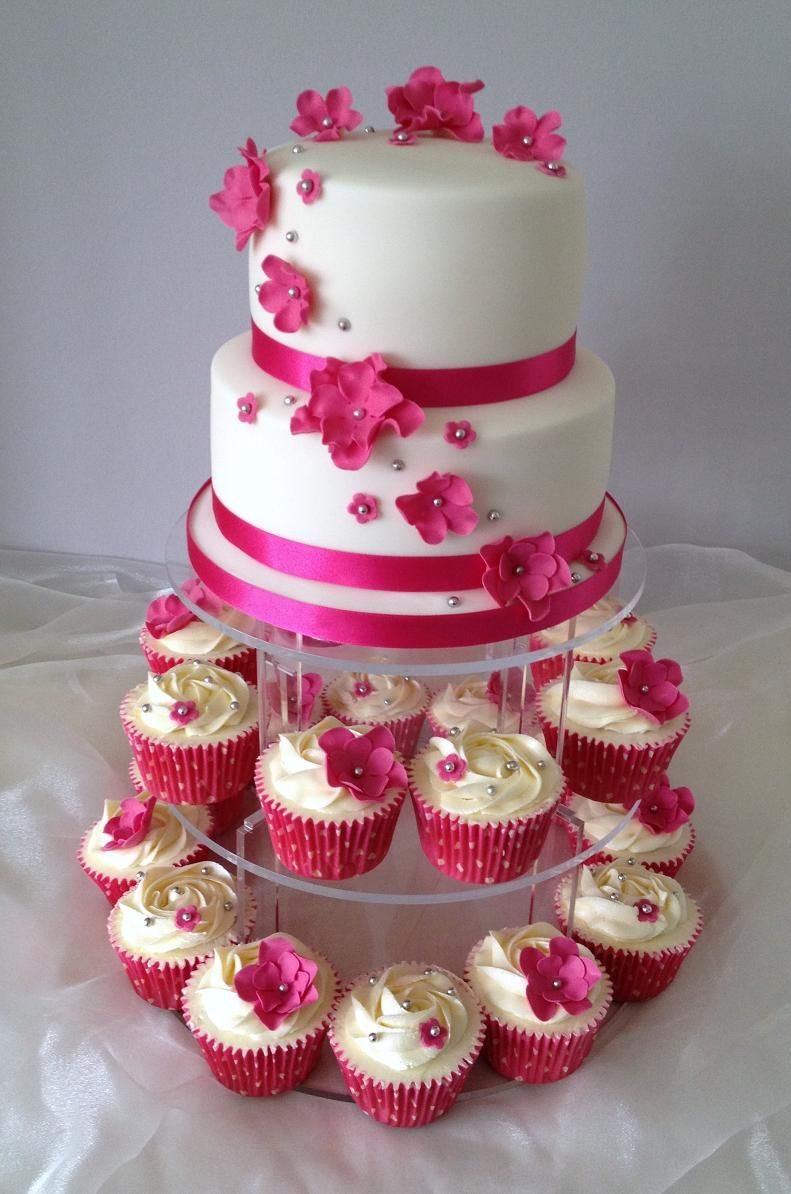 Pretty Pink Wedding cake and cupcakes x Better in whichever colors ...