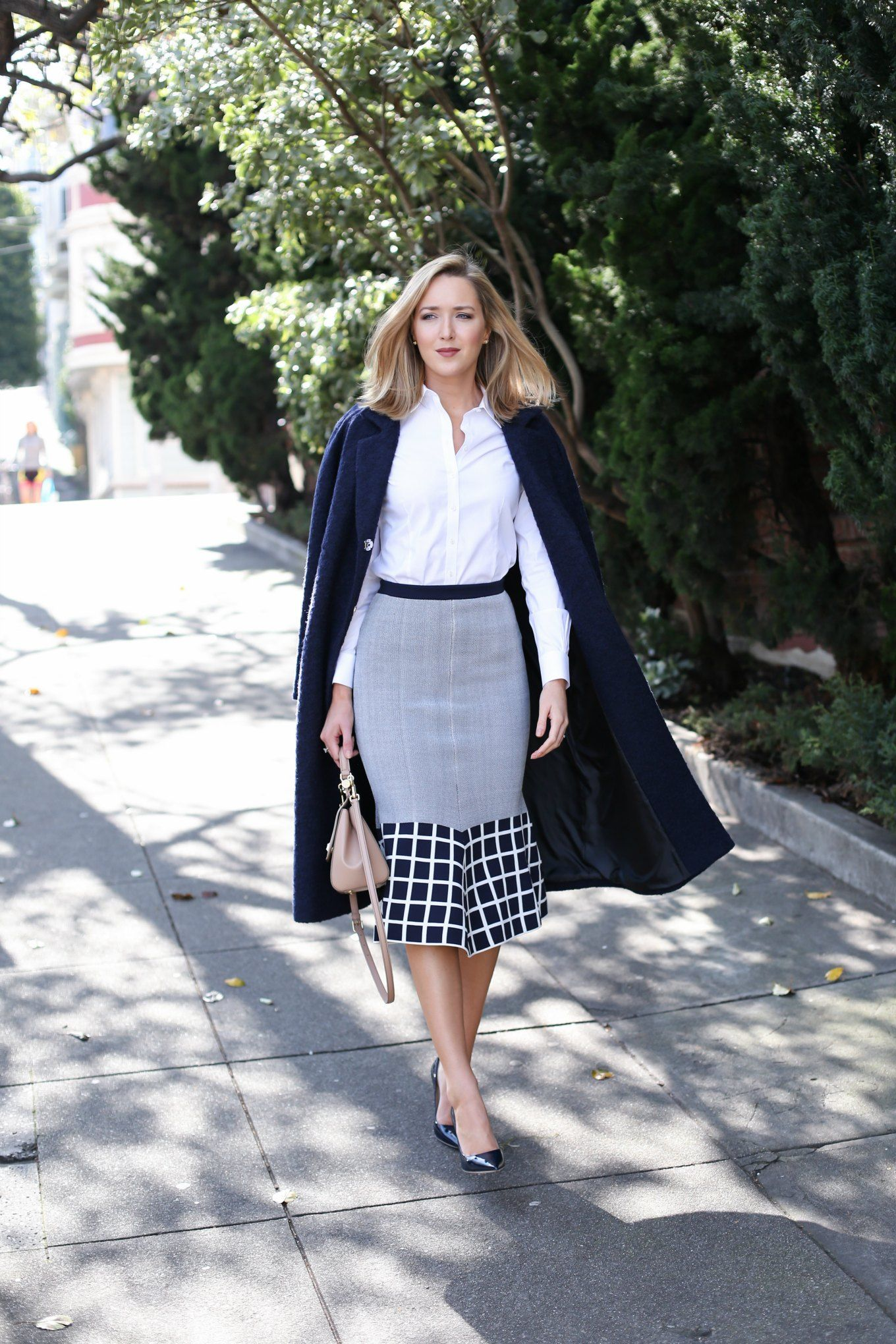 238aff97a483 navy coat with checkered trumpet skirt and button down shirt