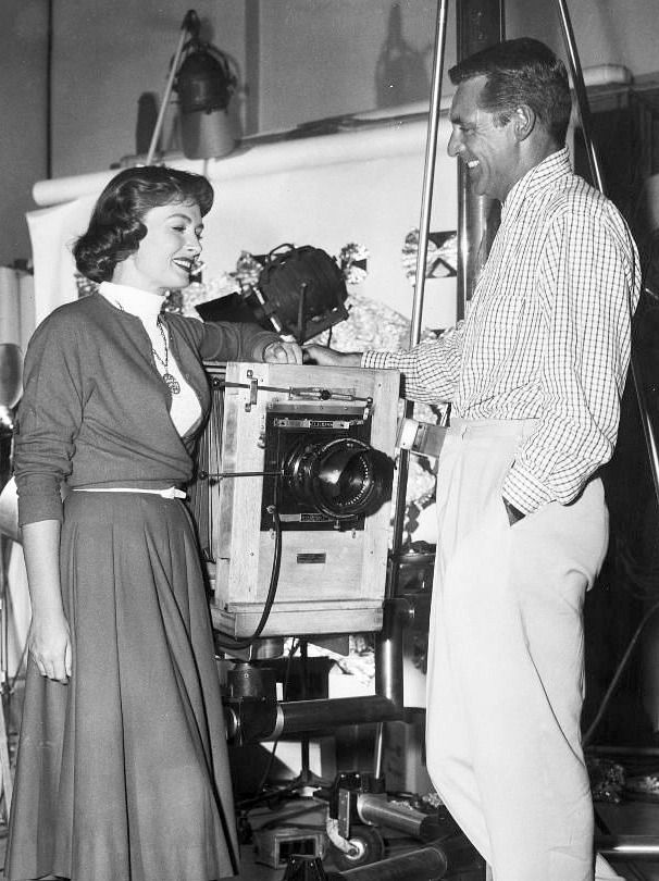"Donna Reed visits Cary Grant on the set of ""To Catch a ..."