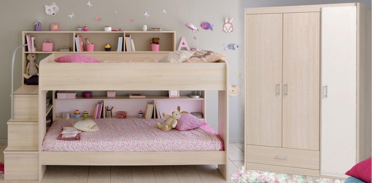 Schlafzimmer Set 2-tlg inkl 90x200 Etagenbett u Kleiderschrank 3