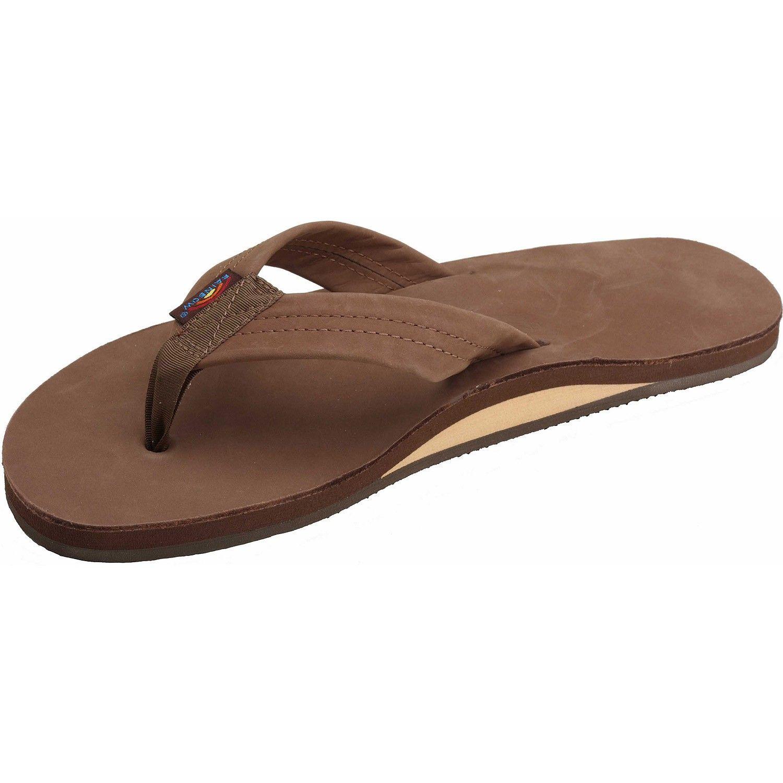 Rainbow Premium Leather Men's Flip Flops - Dark Brown - Secret Spot ...
