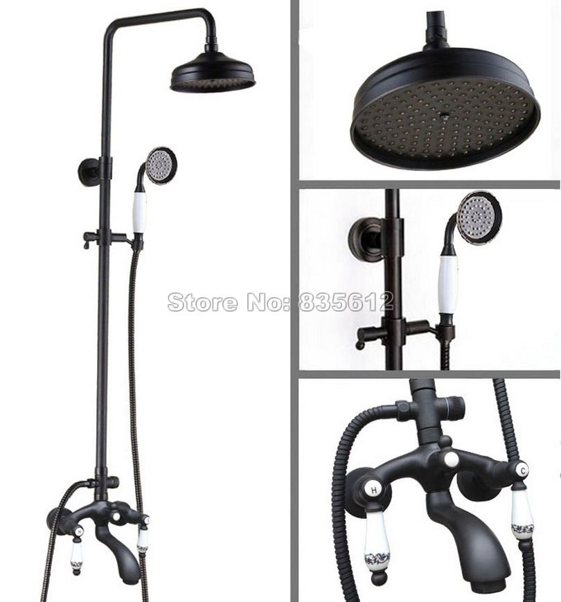 Dual Ceramic Handles Rain Shower Faucet Set Black Oil Rubbed Bronze ...