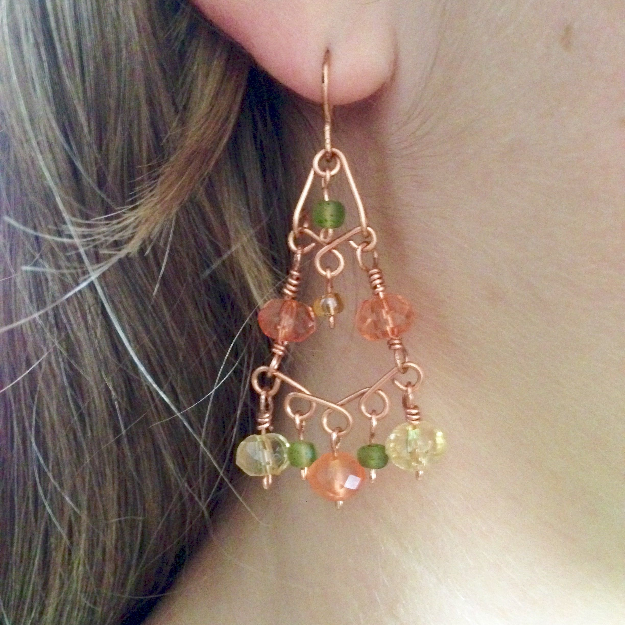 Diy Wire Wrapped Chandelier Earrings Coral And Moss