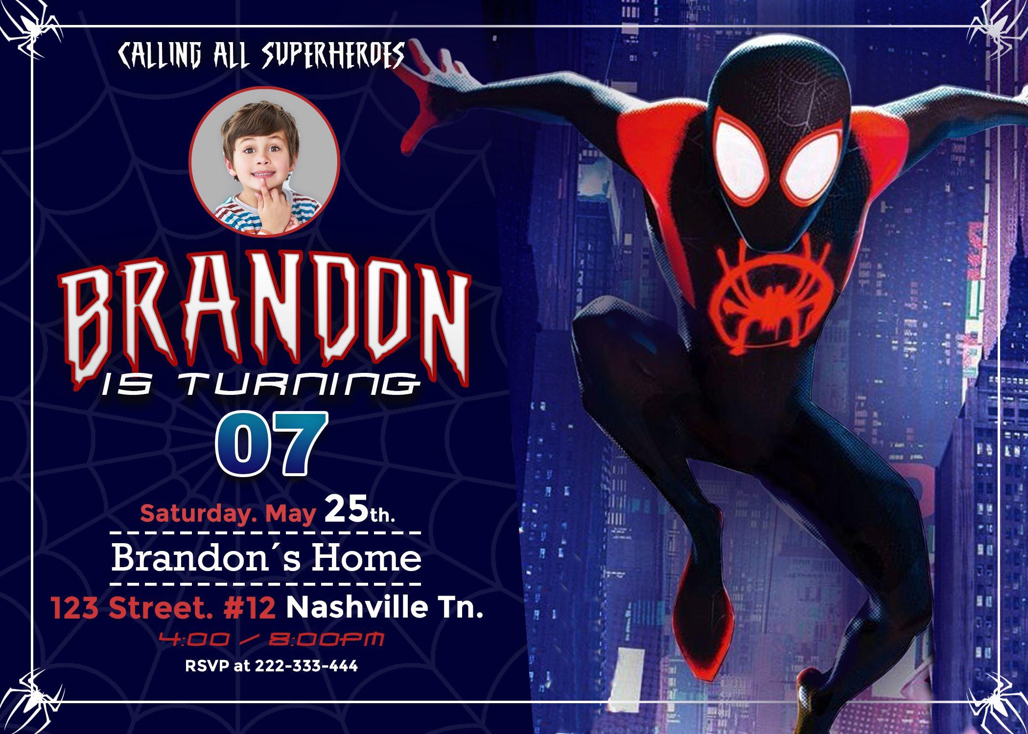 Spider Man Into The Spider Verse Birthday Invitation Amazing Designs Us Spiderman Invitation Spiderman Party Birthday Party Invitations