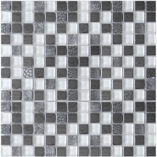 Stainless Steel Tiles For A Modern Backsplash-Square Mixed Steel Tile With White Glass And Textured Metal