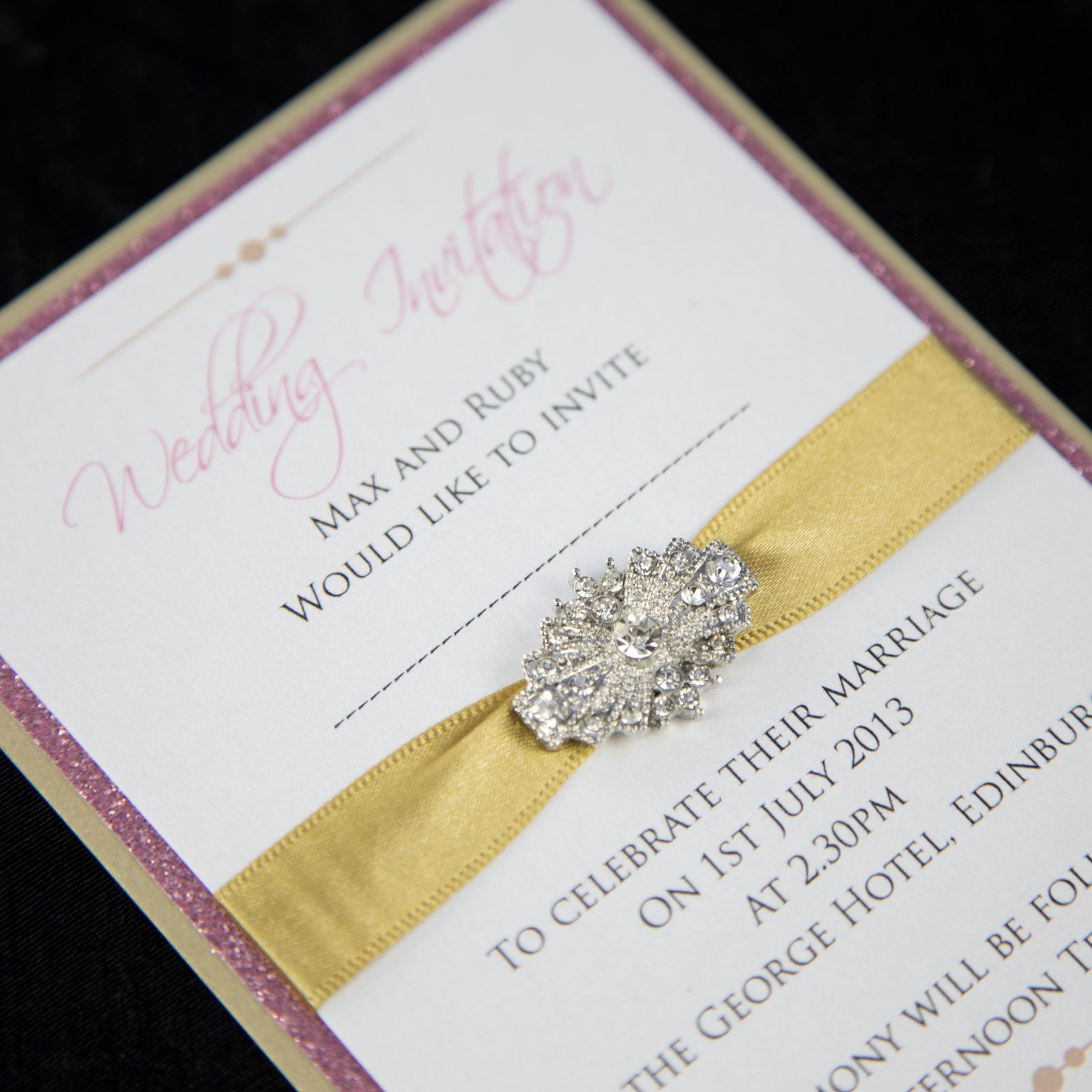 Gold & Pink Sparkle Wedding Invitation with Art Deco Crystal Brooch ...